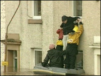 Rescue from flooded house in Cumbria