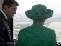 The Queen sees the site from the Holden Point residential tower