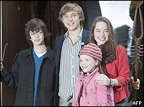 Skandar Keynes, who plays Edmond, William Moseley (Peter) Georgie Henley (Lucy) and Anna Popplewell (Susan