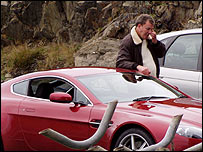 Jeremy Clarkson filming Top Gear on the Isle of Man