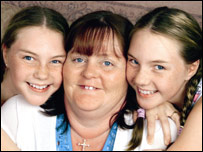 Lyn Fields with her twin daughters Kirstie (L) and Catherine, picture from That's Life