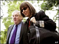 Judith Miller arrives in court with her attorney