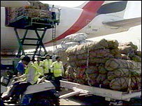 British aid plane being unloaded in Kashmir