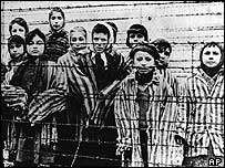 Children in Auschwitz concentration camp, Poland, at the end of World War II
