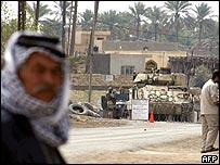 Iraq street scene with American tank