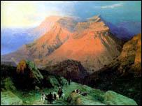 Аул Гуниб в Дагестане на картине Айвазовского