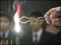 Bunsen burner in science lesson