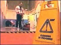 Inmate Adrian Jones trains as a cleaner at Parc Prison
