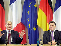 French president Jacques Chirac (L) and German chancellor Gerhard Schroeder