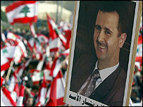 Banner of Bashar al-Assad at pro-Syrian rally in Beirut
