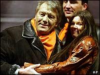 Ukraine president Viktor Yushchenko with Eurovision winner Ruslana