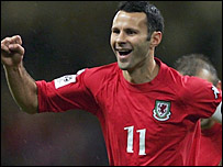 Ryan Giggs celebrates his opening goal for Wales