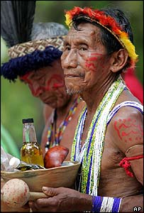 Wuareqena indigenous men from Venezuela's Apure state