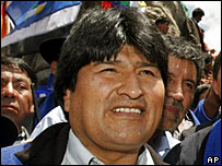 Evo Morales during the launching of his campaign in La Paz, Bolivia