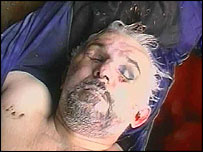 Maskhadov's body as shown on Russian TV