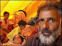 Nazimuddin Gillani with his family in tent, Muzaffarabad