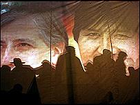 Acto de lanzamiento de la campa�a presidencial de Evo Morales en La Paz.
