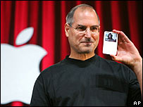 Steve Jobs holds up a video iPod