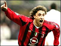 AC Milan striker Hernan Crespo celebrates his goal