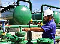 An oil worker at Cuba's Santa Cruz del Norte field