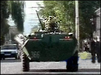 Russian troops on the streets of Nalchik