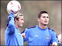 England midfielders David Beckham and Frank Lampard