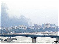 Smoke rising in central Baghdad after the blast
