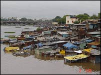 Slums in Pune during flooding