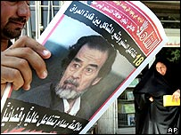 Saddam Hussein on front page of Iraqi newspaper
