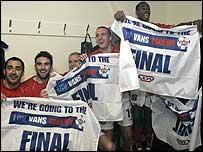 Wrexham celebrate after making the final of the LDV Vans Trophy (SportPixs)