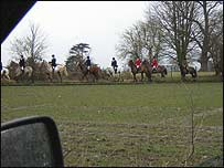 View of the hunt from hunt monitor's car