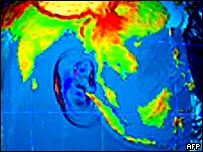Graphic showing spread of tsunami