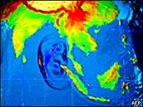 Graphic showing spread of tsunami