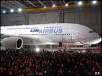 The A380 superjumbo, unveiled in Toulouse in January