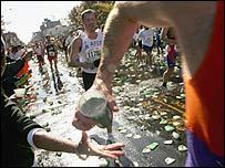 Athletes taking on water