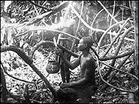 Congolese harvesting rubber, 1897 (Royal Museum for Central Africa)