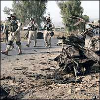 Scene of car bombing, Baghdad