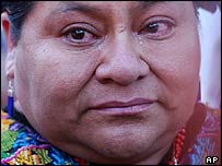 File photograph of indigenous activist and Nobel Peace Prize winner Rigoberta Menchu