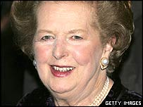 Lady Thatcher arriving at the dinner