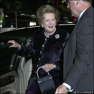 Baroness Thatcher  arrives at her birthday celebrations