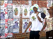 Two women walking past MDC posters on the wall of a post office in Zimbabwe