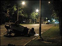 An overturned car following militant attacks on Nalchik, Russia