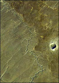 Meteor Crater taken from Landsat spacecraft (Nasa)