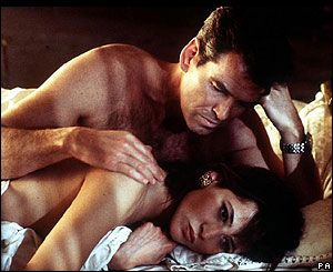 Pierce Brosnan with Sophie Marceau in The World Is Not Enough.