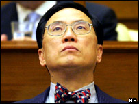 Donald Tsang listens to lawmakers debate at Hong Kong's Legislative chamber Wednesday March. 9, 2005.
