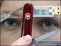 Woman demonstrates the USB Swiss army knife