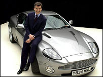 James Bond star Pierce Brosnan with Aston Martin car