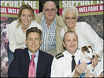 From left clockwise: TV vet Emma Milne, David and Carole Gardiner, their dog Charlie,  RSPCA chief inspector Mark Puggie, MP Ben Bradshaw