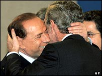 Silvio Berlusconi and George W Bush, February 2005