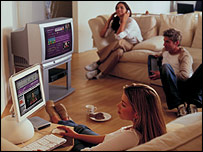 Image of people using technology in a home
